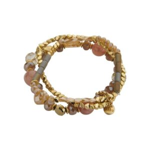 ROZE GOUD DRIEDELIGE ARMBAND CRYSTAL